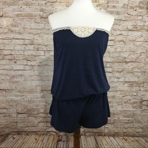 lucky Brand Strapless Romper Swimsuit Cover-up